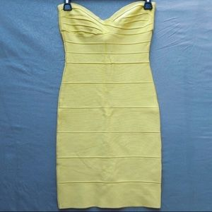 Herve Leger yellow strapless bandage dress